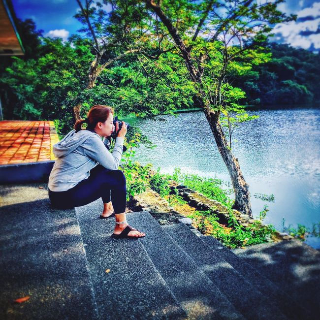 My very first DSLR experience 😝😂😅 Full Length Tree Lake Lifestyles Sitting Casual Clothing Leisure Activity Water Person Lakeshore Riverbank Day Nature Growth Young Adult Footpath Outdoors Tranquil Scene Green Color Tranquility EyeEm Nature Lover Eyeem Philippines Philippines Photos TravelPhilippines