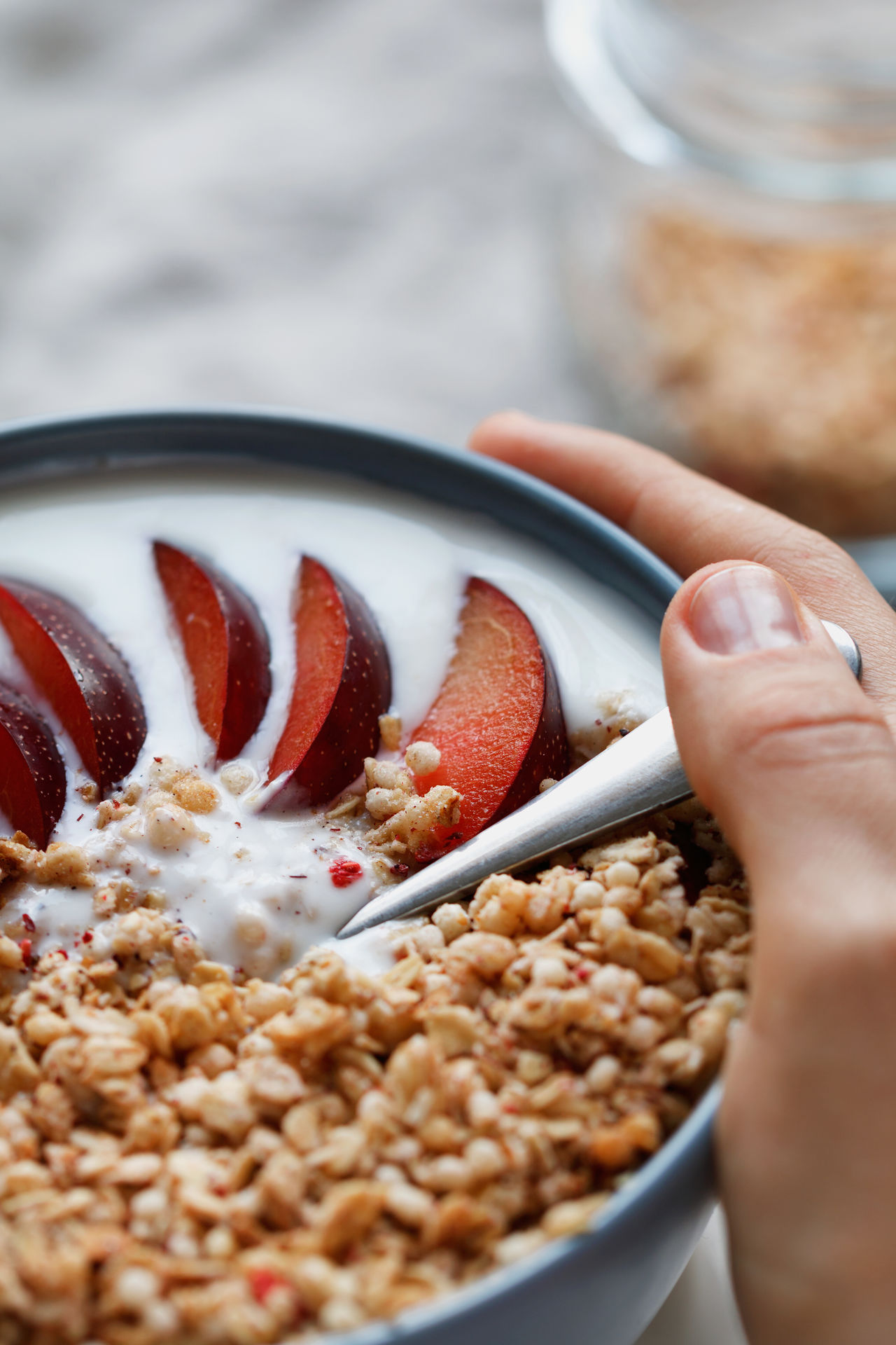 Bowl Breakfast Cereal Close-up Comfort Food Food Food And Drink Freshness Fruit Healthy Eating Healthy Lifestyle Holding Human Body Part Human Hand One Person Ready-to-eat SLICE