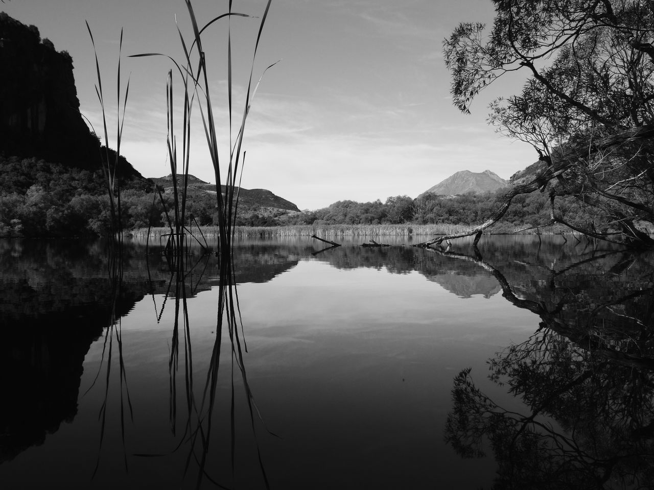 Reflection Nature Water Sky Beauty In Nature Scenics Tranquility Lake Tranquil Scene Tree Mountain Outdoors No People Landscape Day Water Reflections Mirror Lake Calm Water Symmetry Lake View Grass Trees Diamond Lake New Zealand Blackandwhite
