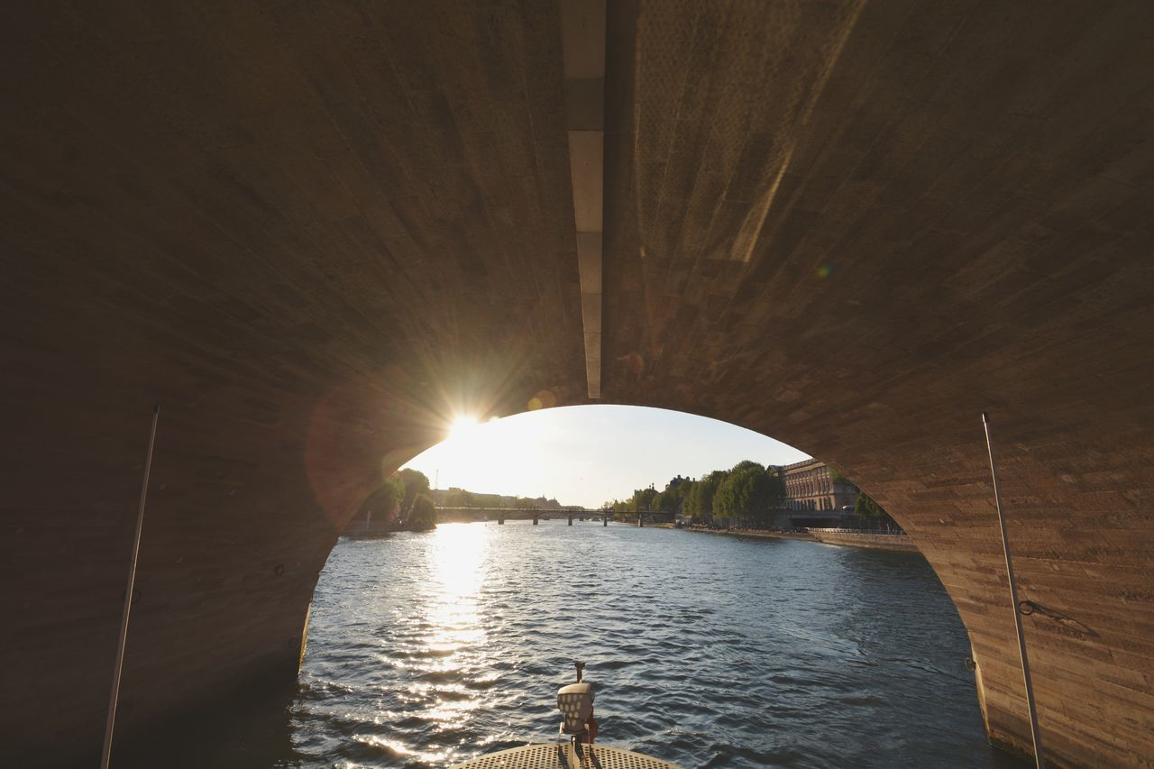 Seine River (Paris) Water Architecture Day Paris Paris, France  France Siene River On A Boat Boat River Tourism Europe Wide Shot Sun Sun Glare Travel Destinations Interesting No People The Great Outdoors - 2017 EyeEm Awards