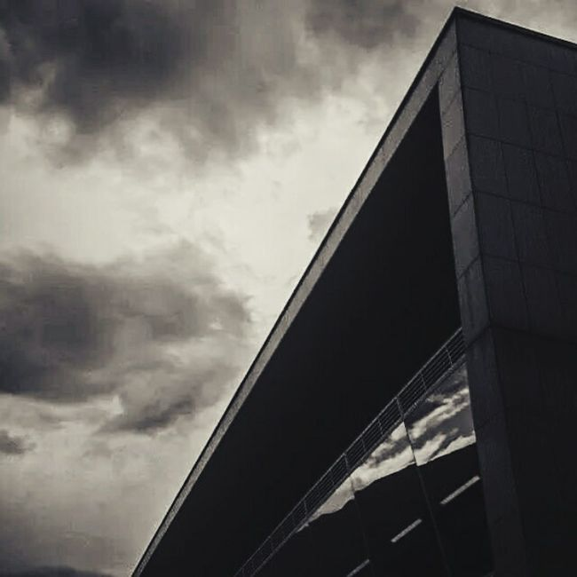 Architecture Minimalism Urban Geometry Buildings Blackandwhite Grayday Sky And Clouds Library