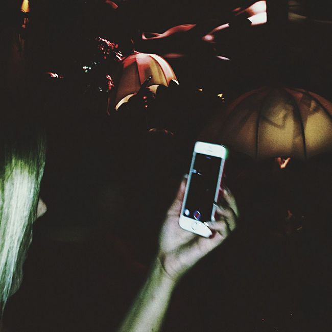 Woman With Phone At Rave Nightclub Woman CheckingPhone Dance Club