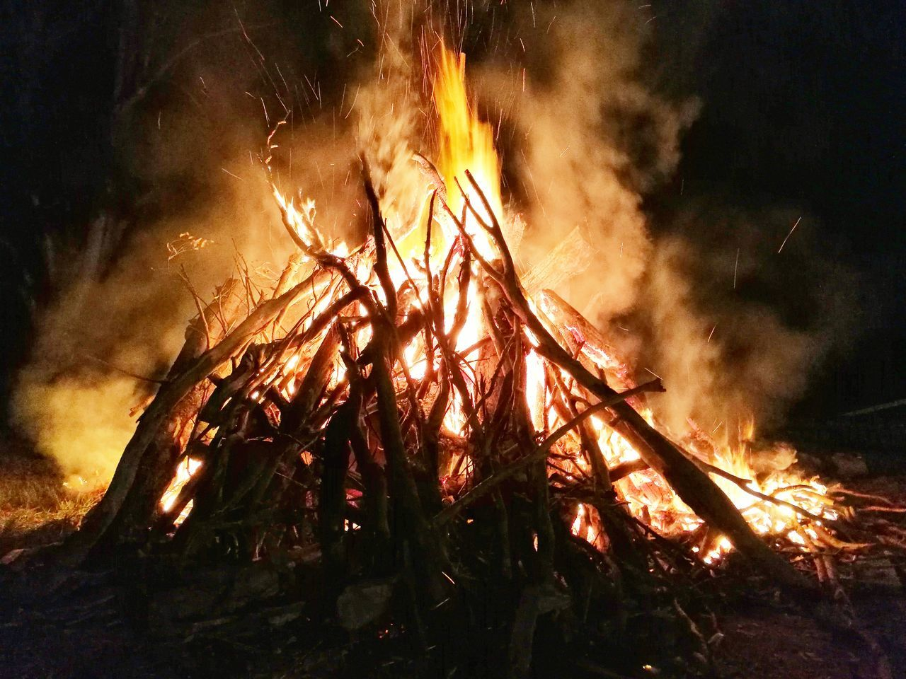 burning, flame, heat - temperature, danger, night, smoke - physical structure, forest fire, outdoors, no people, nature, accidents and disasters, bonfire, global warming, close-up, sky