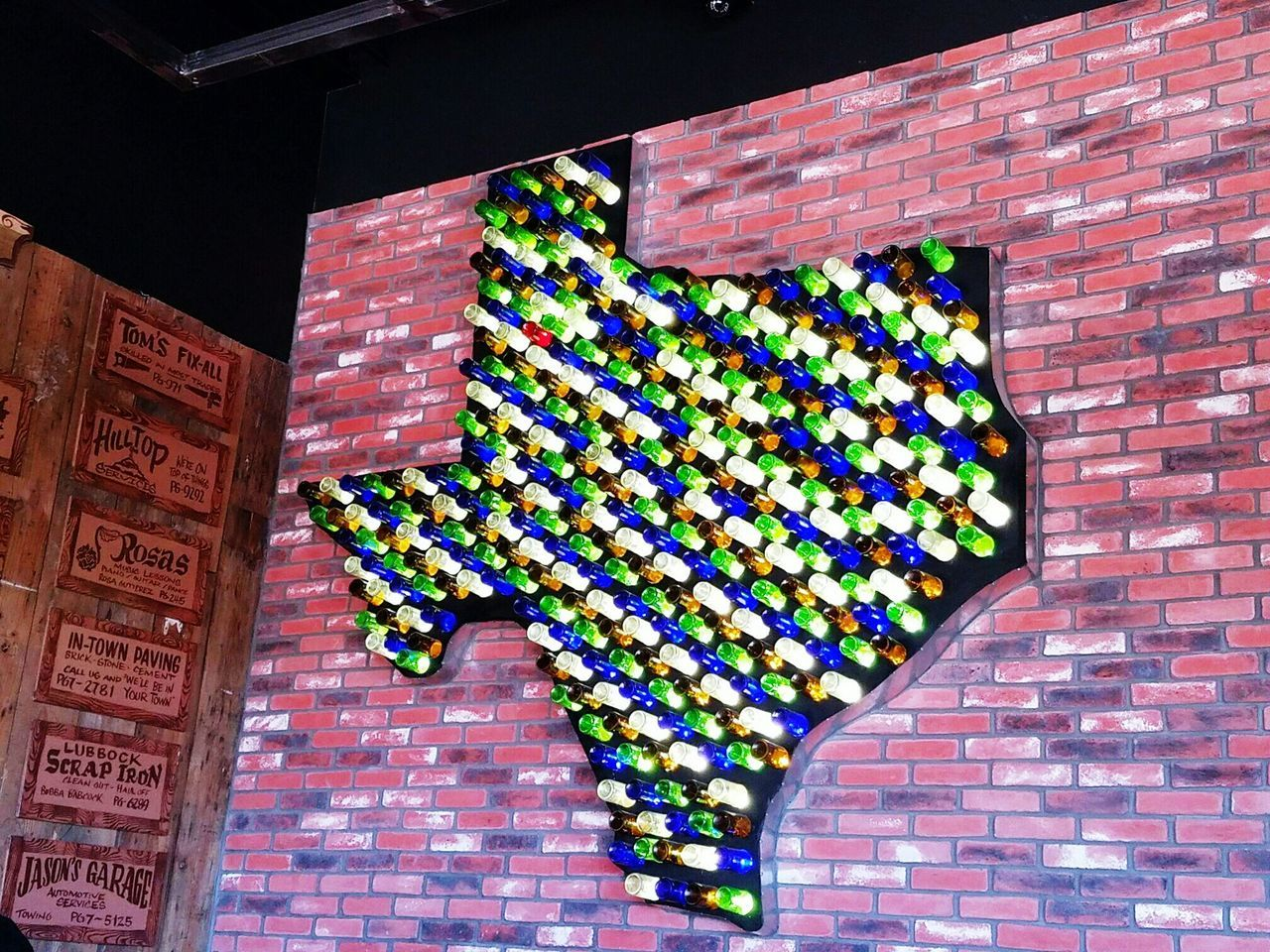 A Texas made out of wine bottles! Twisted Root Burger Lubbock Texas Wine Bottles