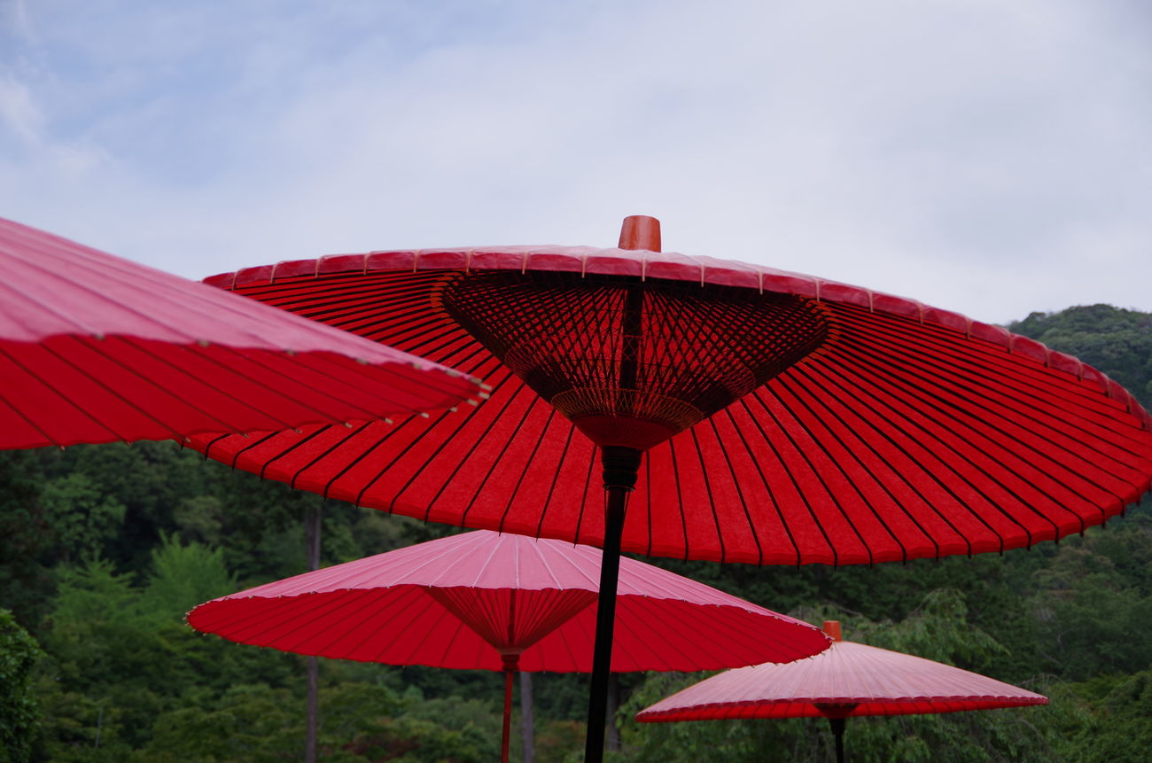 Japan Kyoto Outdoors Red Sky Umbrellas Vivid Wabi-sabi