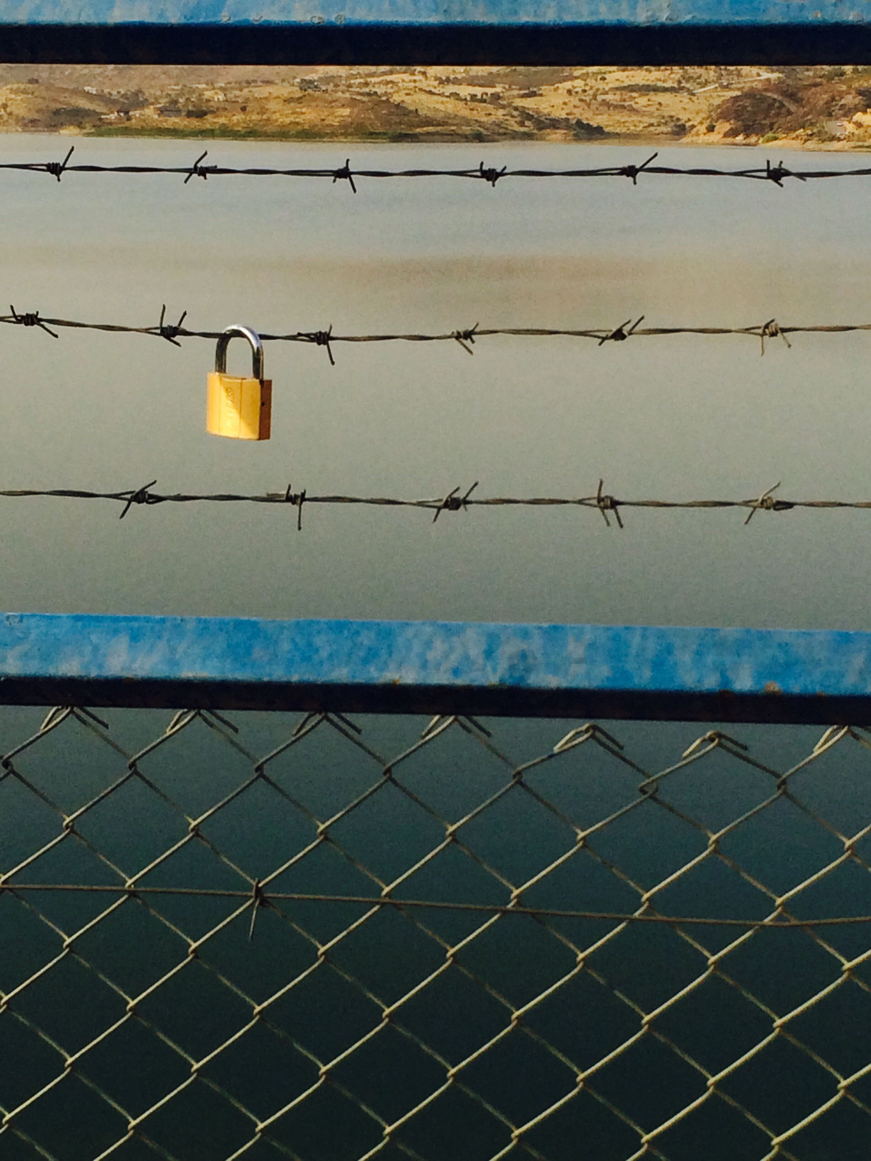 safety, protection, security, chainlink fence, fence, day, sky, blue, outdoors, tranquility, chain link fence, tranquil scene, no people