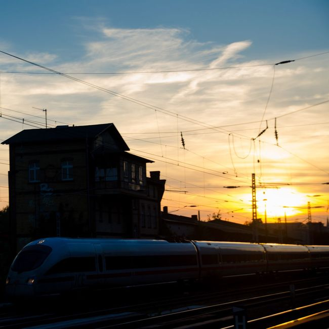 My Eyes My Berlin Transportation Sunset Mode Of Transport Sunset Silhouettes Motion Motion Capture Dramatic Sky No People EyeEm Best Shots TakeoverContrast Future Vision Travel Fantasy Dreaming Film Urban Exploration