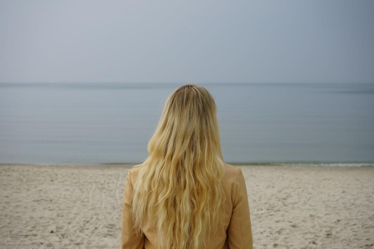Beautiful stock photos of sand, Beach, Blond Hair, Clear Sky, Copy Space
