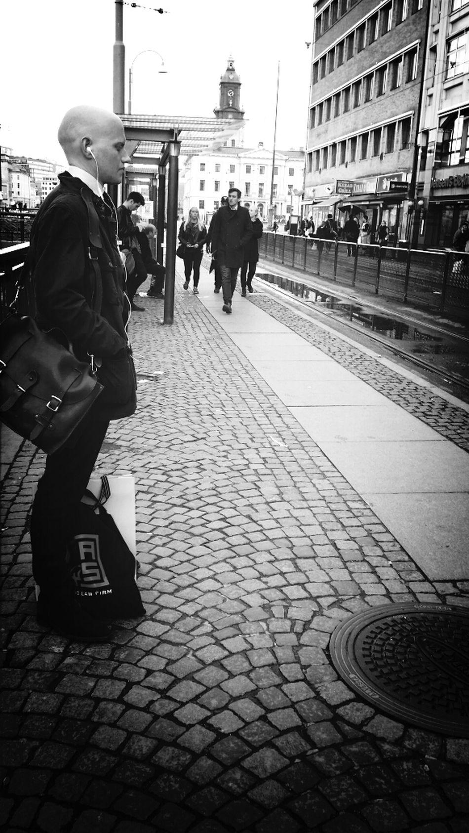 EyeEm Gallery Peoplephotography Streetphoto_bw Gothenburg_bw ....waiting for the tram....