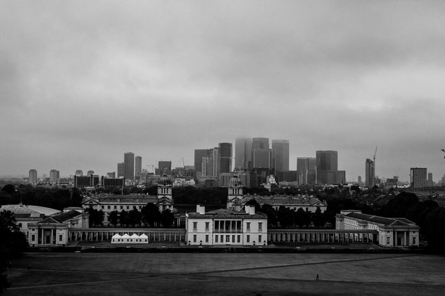 London City Cityscape Landscape Blackandwhite Canon Canon 70d Wide Angle Sky Autumn Morning Light Solitude Greenwich Park Greenwich Observtory Built Structure Architecture Building Exterior
