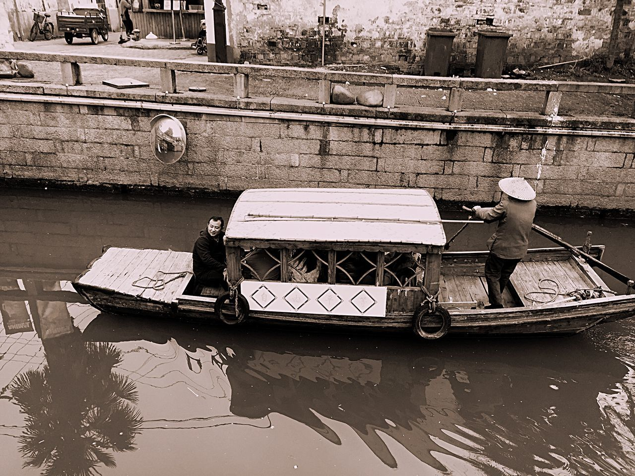 April 2015. Suzhou China PIngjiang Road Boots Chinese Chinese Culture Canal Water Floating Vessel
