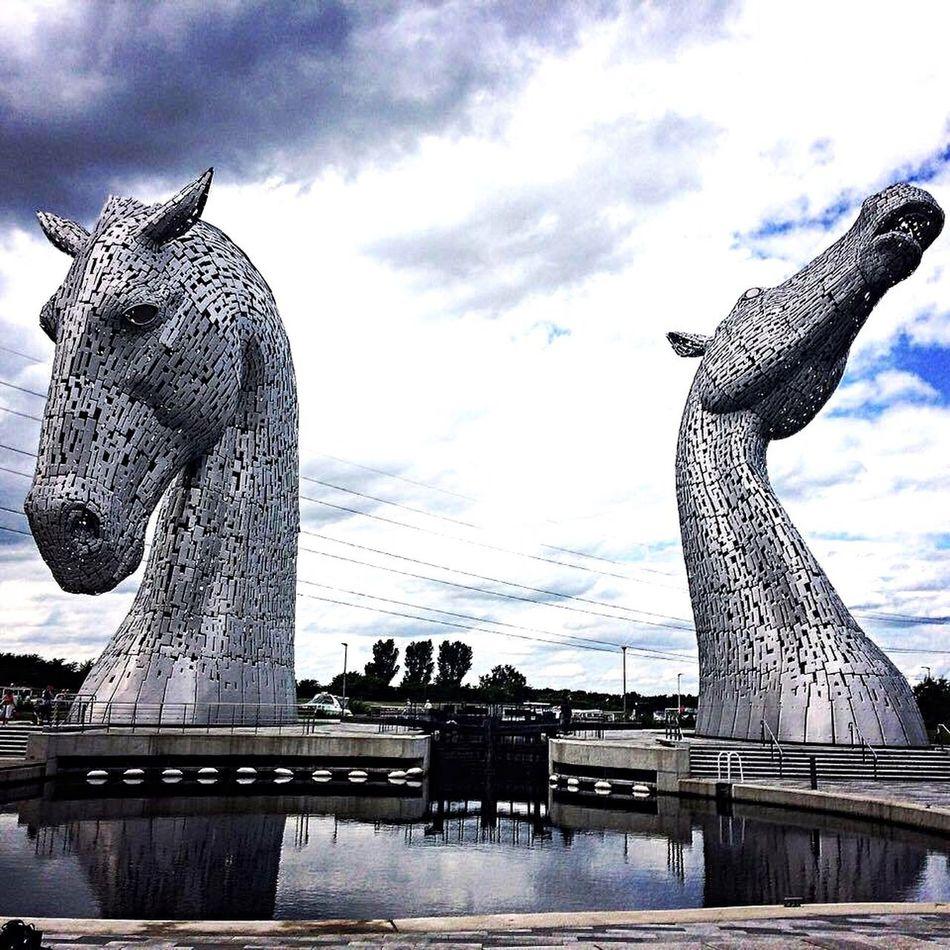 Statue Sculpture Cloud - Sky Creativity Architecture Animal Representation Tourism Travel Destinations Built Structure Kelpies  Kelpies Of Falkirk Scotland Falkirk Falkirk Kelpies Photography