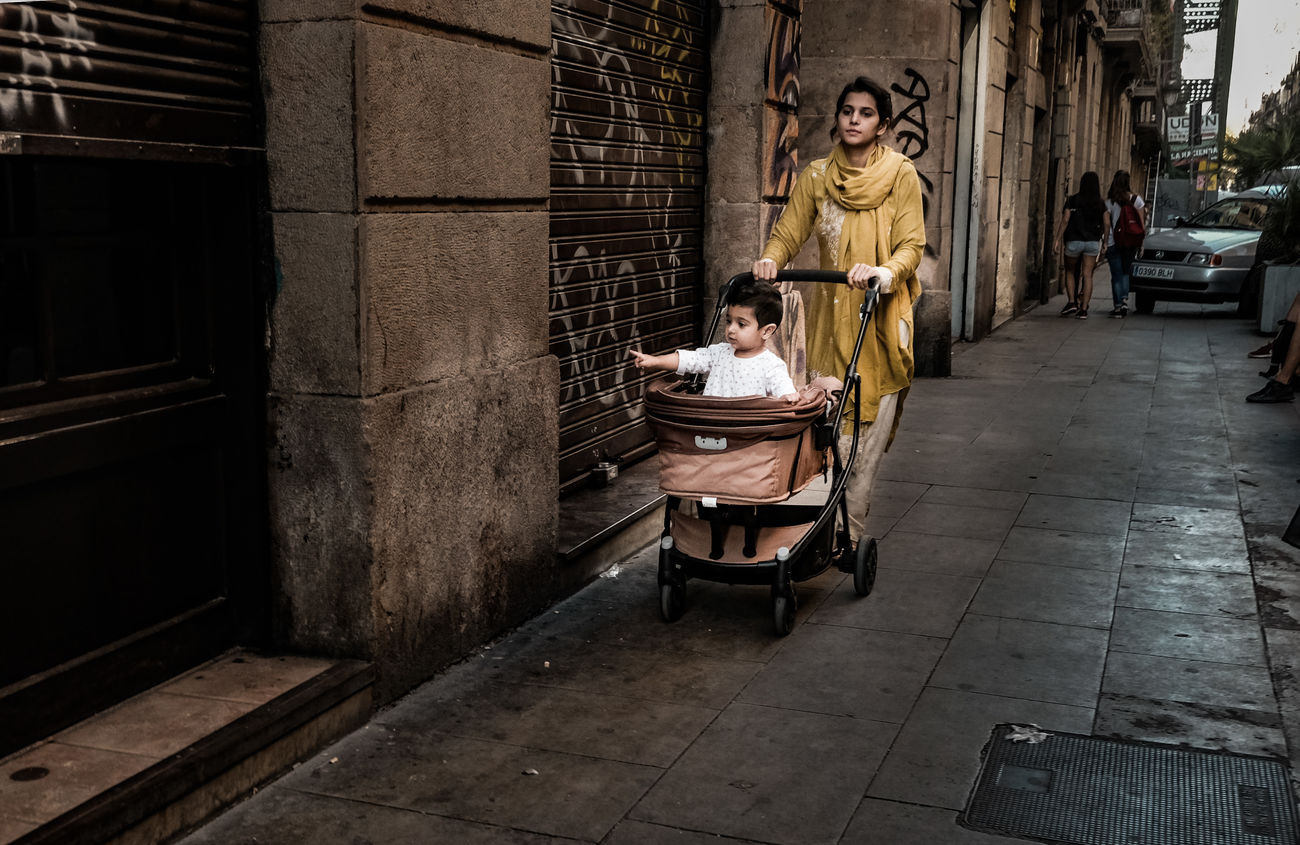 Barcelona Full Length Guiding Late Summer Colours Mother And Child People Street Life Street Photography