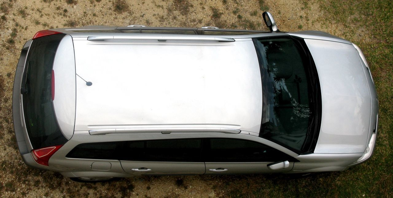 High Angle View Of Car Parked On Street