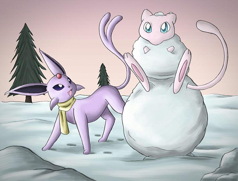 Horizontal Pokémon 20th Anniversary Draw Dessin Outdoors Mew Eeveelutions Evolution  Snowtime Snow Playtime