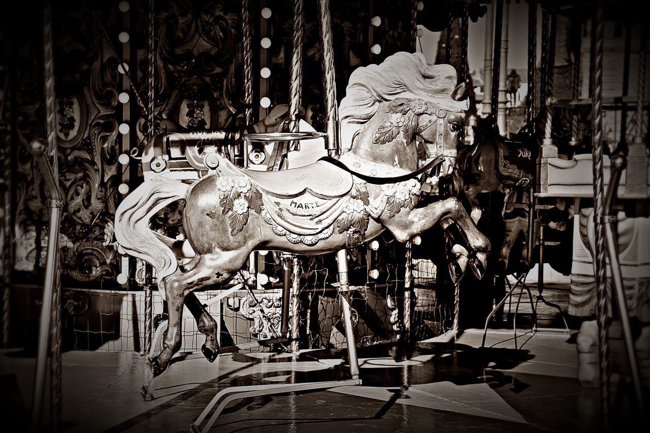 Activity Alcalá De Henares. (Madrid) Animal Representation Animal Themes Black And White Carousel Day EyeEm Gallery Hello World Horse Indoors  No People Tiovivo