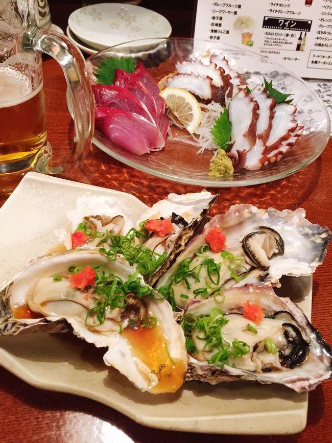 新年会 刺身 生ビール Bier 牡蠣 Oyster