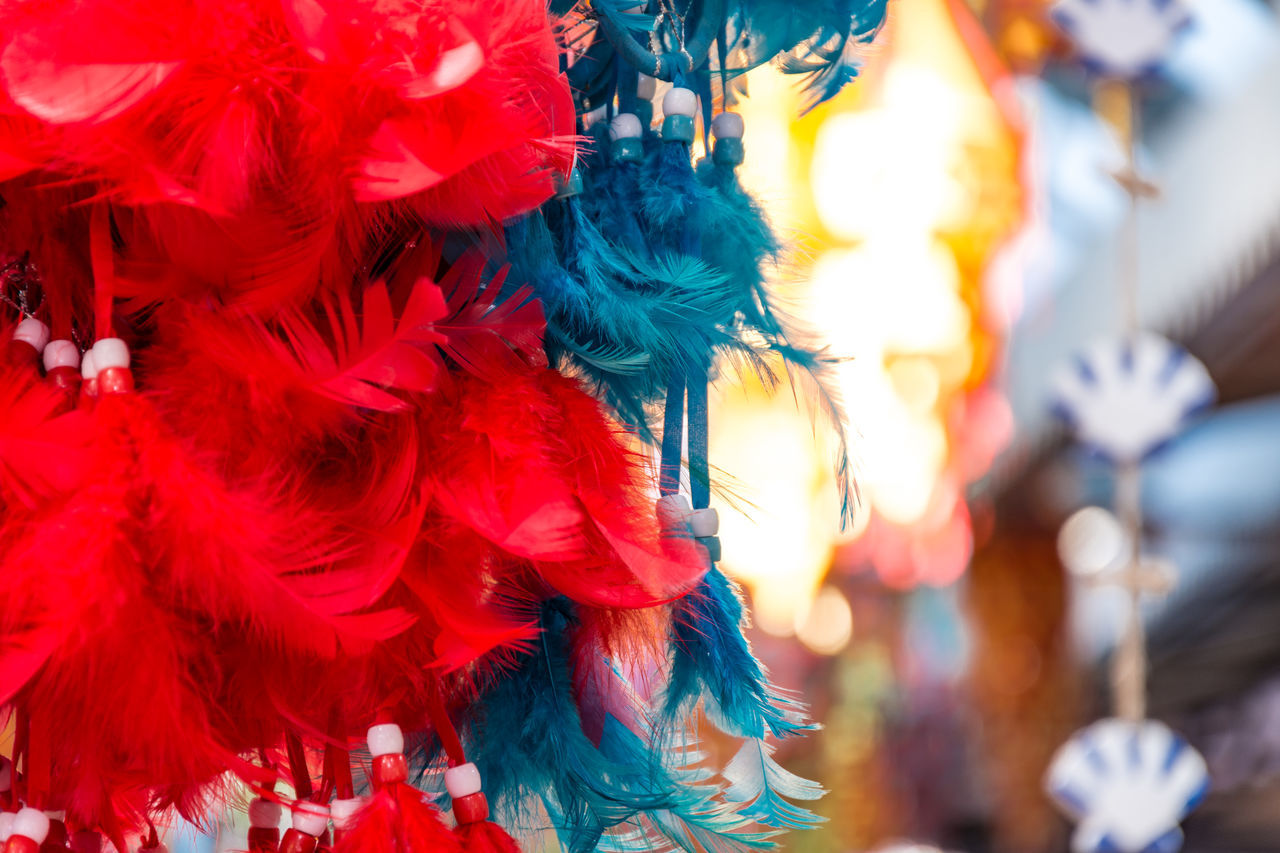 Animal Themes Celebration Close-up Costume EyeEm EyeEm Team Feather  Feathers Focus On Foreground Hanging Market Market Stall No People Outdoors Red Tradition Traditional Festival