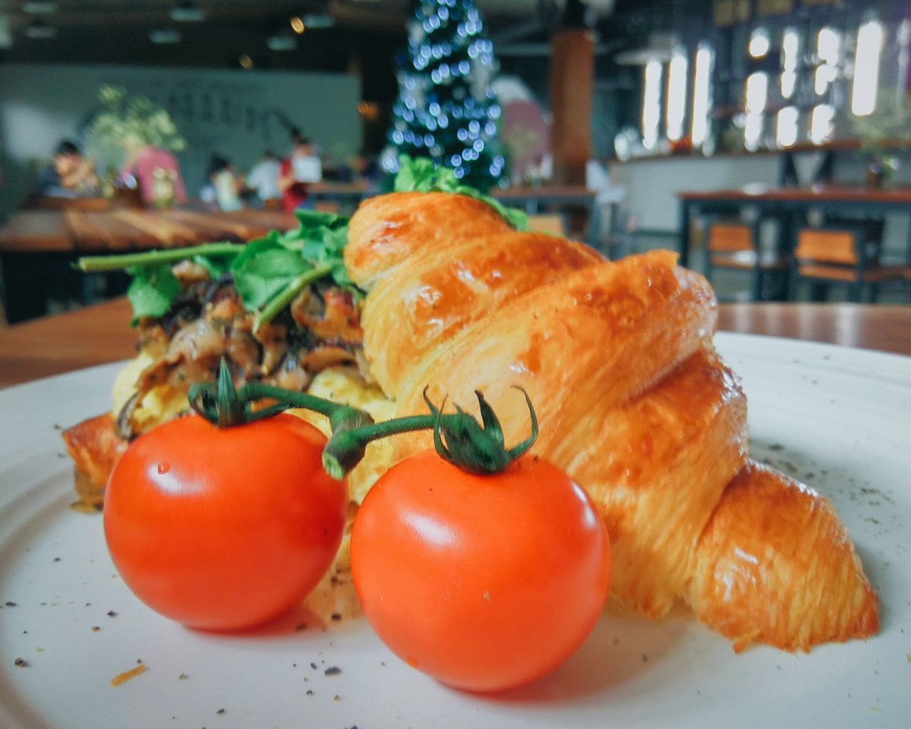 Crossaint Scrumbled Egg Tomatoes Yellow Orange Color Xmas Tree Focus On Foreground Healthy Eating Close-up Indoors  No People Freshness Food Plate Vegetable Wooden Tables Wooden Chair Bread Mushroom