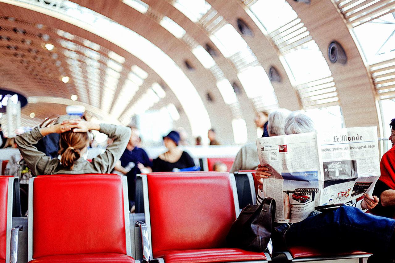 #Airport #France #lemonde #light #newspaper Collector #Paris #read #red #waitingfortheplane Indoors  Journey Passenger People Public Transportation Travel