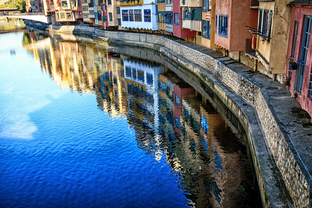 Architecture Building Colorful City Culture Girona, Reflection Reflection River Water