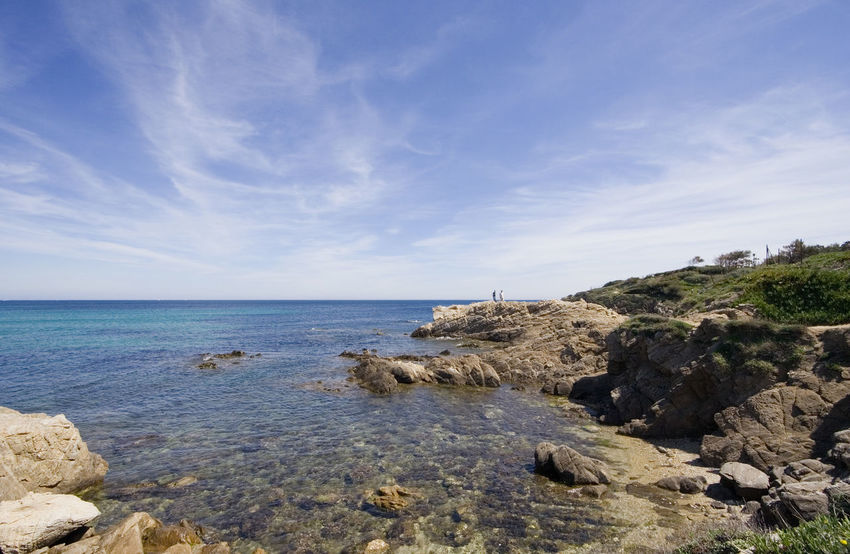 mediterranean sea wide angle - gulf of saint-tropez, french riviera Beach Beauty In Nature Cliff Coast Coastline Côte D'Azur France French Riviera Gulf Of Saint-tropez Horizon Over Water Landscape Landscape_Collection Mediterranean  Mediterranean Sea Nature Ramatuelle Rocky Coastline Saint-Tropez Scenics Sea Tranquil Scene Tranquility Travel Destinations Water Wide Angle