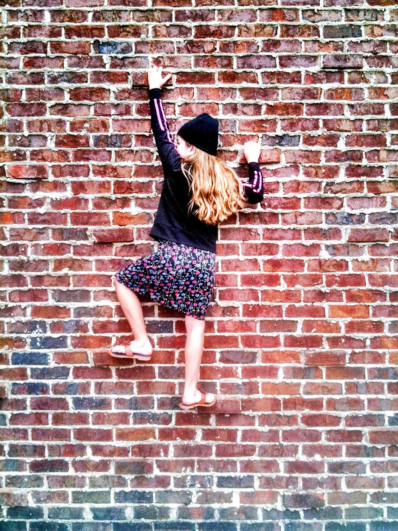 Beautiful stock photos of girl, Brick, Brick Wall, Caucasian Ethnicity, Childhood