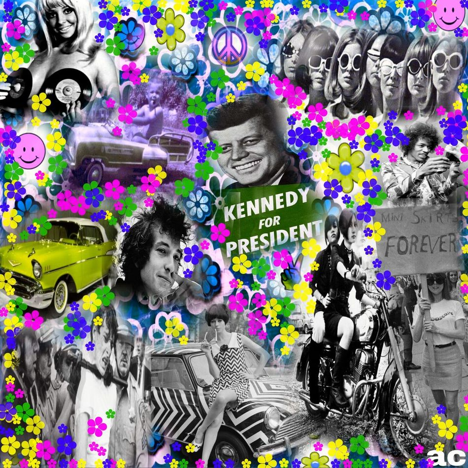 FREE LOVE-THE 60'S Colorsplash Collageartwork Collageoftheday 60's Love Hippie ✌ 60's All The Way 60's Style Multi Colored Trippyart TrippyLife
