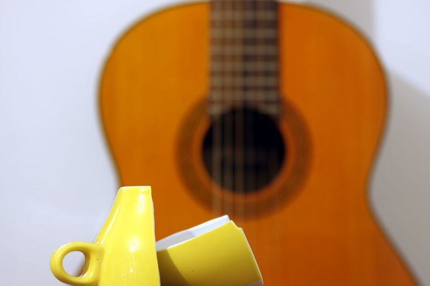 Broken Cup Classical Guitar Close-up Day Indoors  Music Musical Instrument No People Studio Shot White Background Yellow Color