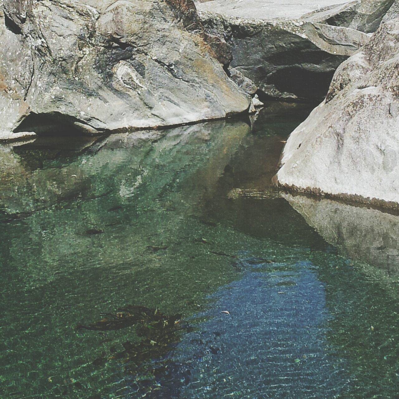 Close-up of rippled water against rocks