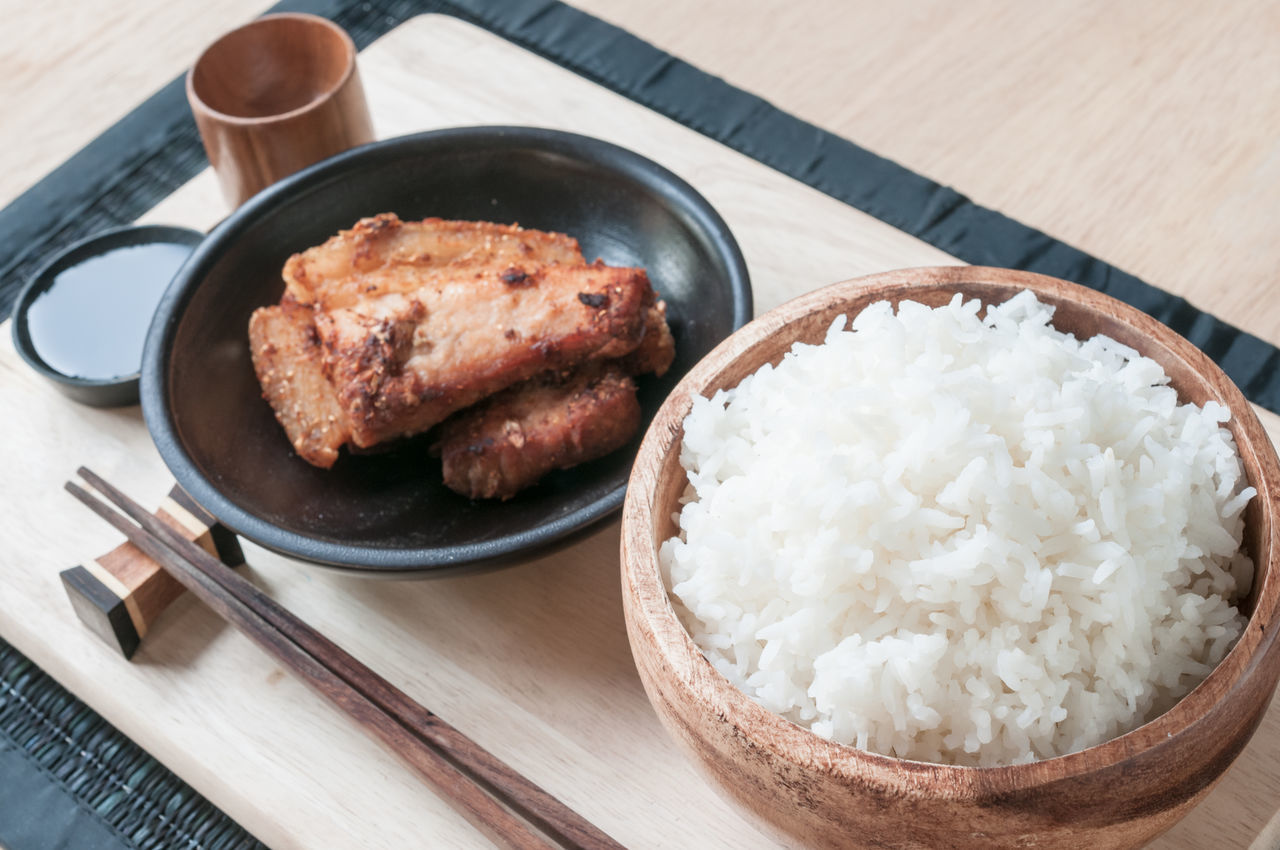 Asian Culture Asian Food Comfort Food Food Food And Drink Food Stylist Freshness Japanese Food Meat No People Pork Ready-to-eat Rice Table Wood - Material
