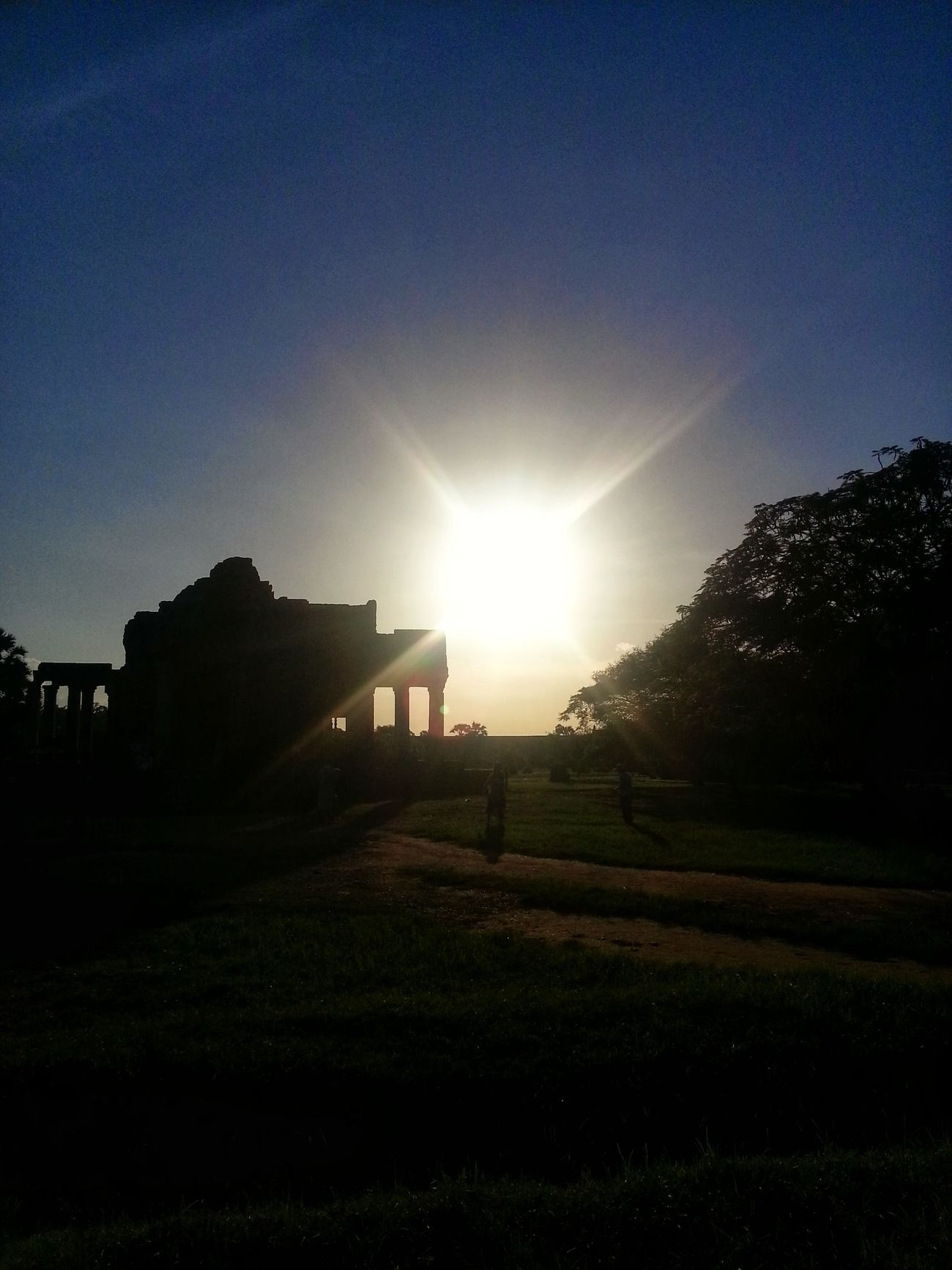 Sun Set Traveling Light And Shadow at Angor Wat Cambodia Taking Photos