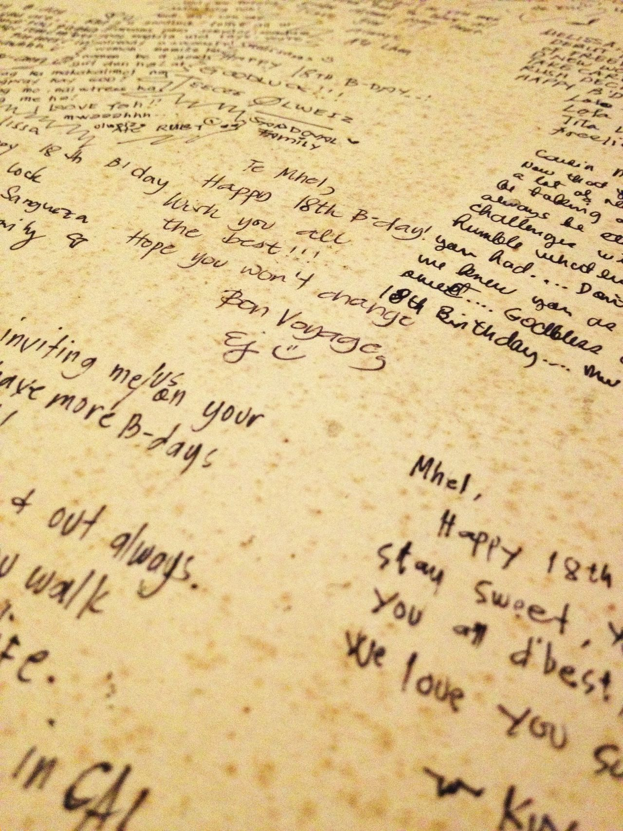 Cursive Writing Note OldPaper Yellowish Letter Filipino English BlackInk IPhone4s IPhoneography Spots Unorganized Wording Indoors  Birthday 18th