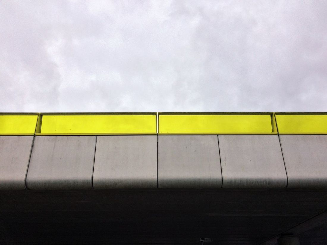 Sky And Clouds View From Below Industrial Photography From Below Industrial Concrete Yellow Glass Bridge Abstract Abstract Photography