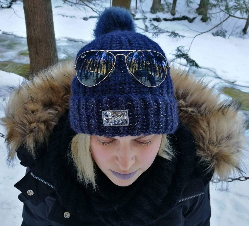 Simply me... Winter Cold Temperature Warm Clothing Snow One Person Knit Hat Looking At Camera Tree Portrait Day Real People Lifestyles Outdoors Leisure Activity Bare Tree Front View Headshot Close-up Smiling Nature Sunglasses Rayban Napapijiri Nofilter