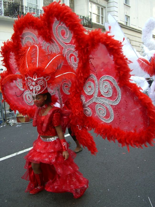 Nottinghill Carnival 2007 Carnival Chilling City Close-up Composition Costume Dancer Day Flower Fragility Full Frame Fun GB London No People Nottinghill Carnival Outdoor Photography Outdoors Petal Red Red And Silver Street Tourist Attraction  Uk