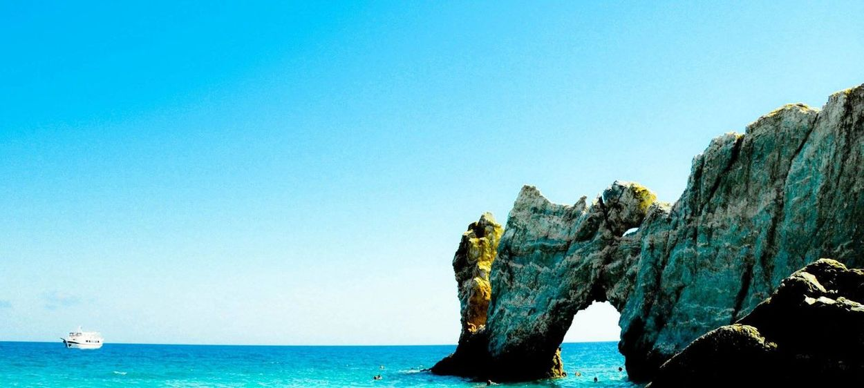 #skiathos Beauty In Nature Blue Clear Sky Copy Space Day Horizon Over Water Nature Nautical Vessel No People Outdoors Rock - Object Rock Formation Scenics Sea Sky Tranquil Scene Tranquility Water