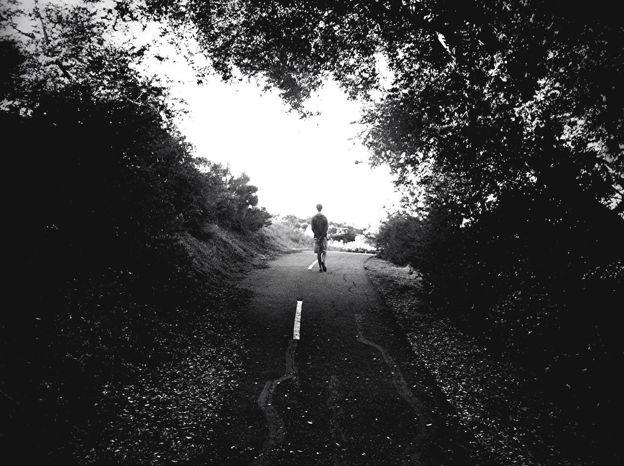 Rear View Of Man Walking On Country Road Against Sky