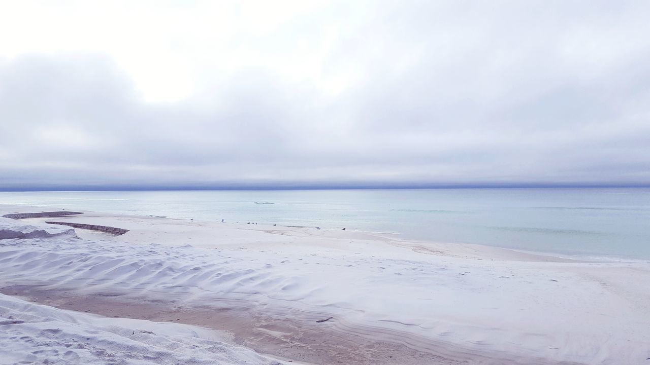 Beach Sand Landscape Horizon Over Water Nature Cloudy Winter Beach Day Atmospheric Mood Sea Blue Green Grey Cloud - Sky Water Scenics Backgrounds Phone Photography Cool Temperature Tranquil Scene
