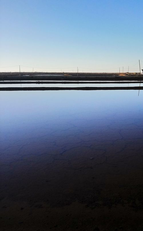 Beauty In Nature Water Surface Clear Sky Standing Water Salt Flat Tranquility Tranquil Scene Full Frame Backgrounds Tavira, Portugal Clear Sky No People Landscape Salt - Mineral Water Outdoors The Week On EyeEm