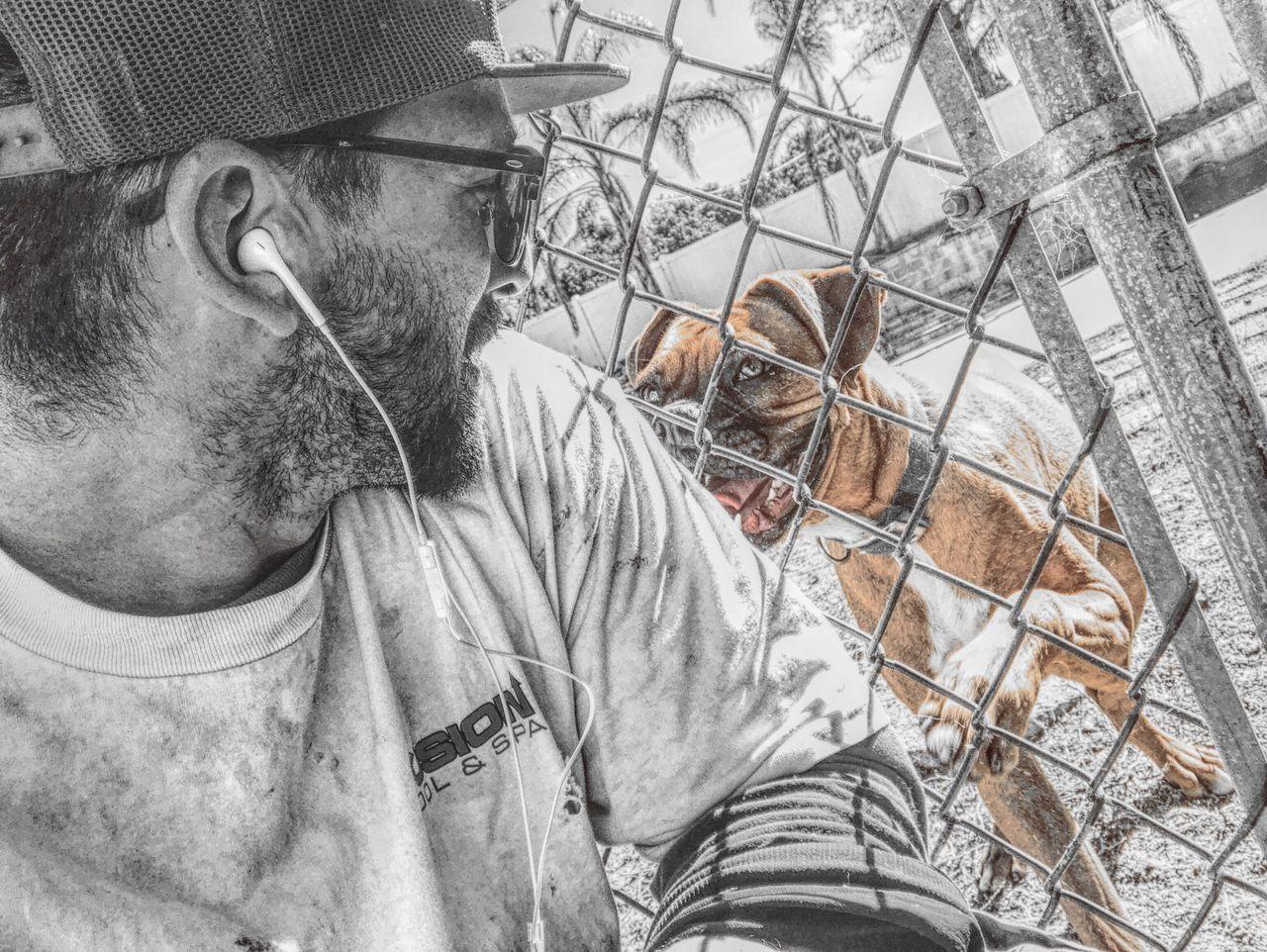 Me At Work Dog Dog Love Colorsplash Bw Outside Fence Don't Go Goodbye