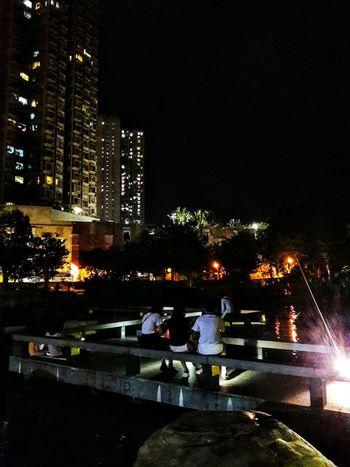 Night Illuminated Water Sky Building Exterior Hang Hau