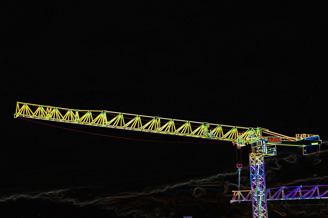 Fooling around with the camera on a balcony in front of a building site where Hertha BSC's stadium used to be #plumpe Crane Hertha BSC Illuminated Metal Night No People Outdoors Pop That Look Vivid Colours