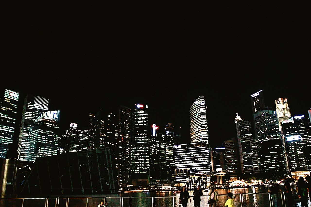 illuminated, night, skyscraper, architecture, building exterior, modern, built structure, city, low angle view, cityscape, outdoors, no people, urban skyline, sky