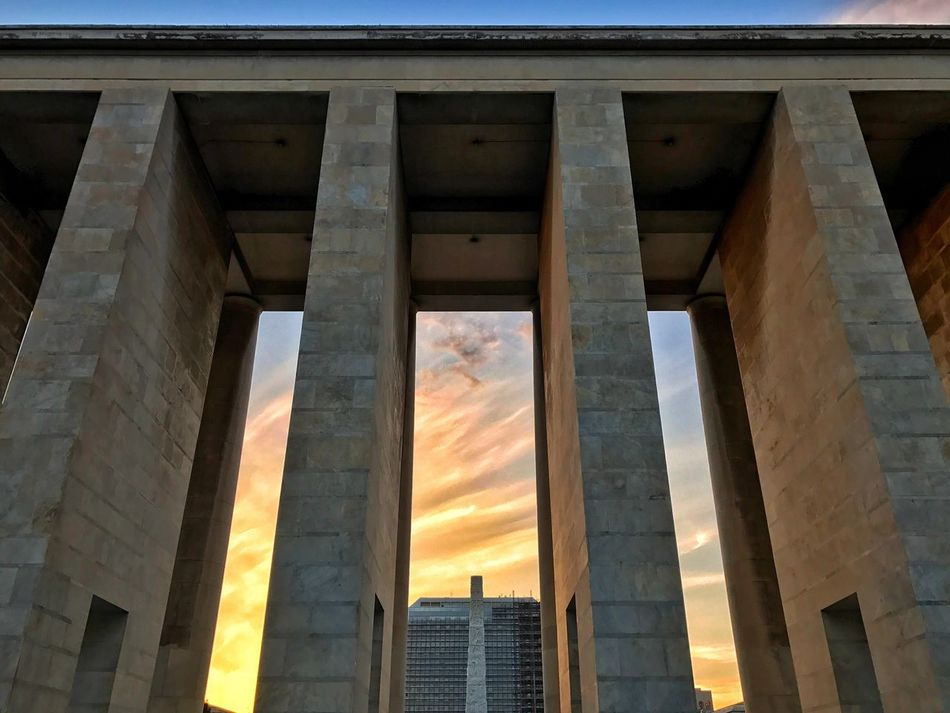 Sunset in the EUR Razionalismo Rationalism Architecture History Rome EUR Archilovers Architecturelovers Architecture Photography Sunset