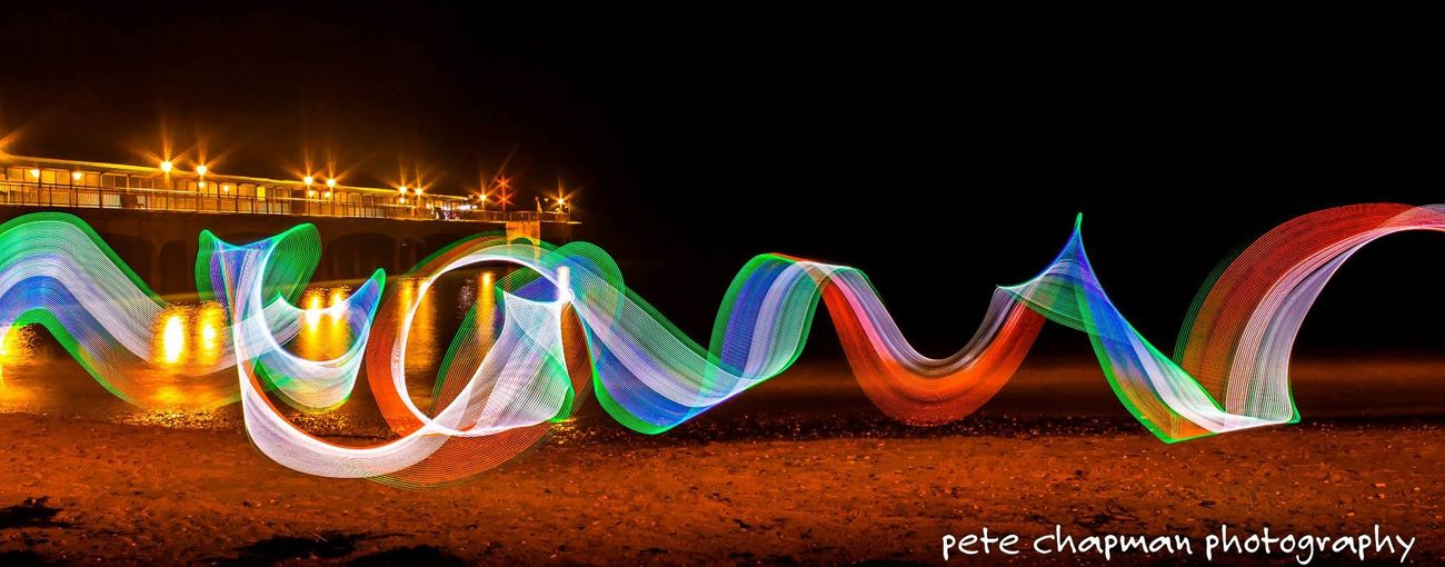 Light Trails Boscombe Pier  Light Painting Long Exposure Light Stick Longexposure