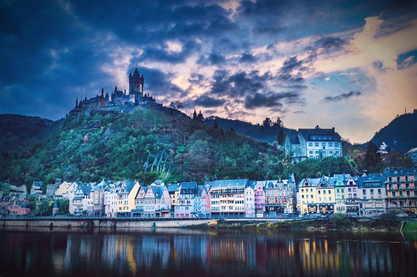 Cochem Cochem An Der Mosel Cochem At Night Mosel Moselschleife River Germany EyeEm Selects Mountain Reflection Night Cloud - Sky Sky Sunset Lake Outdoors Water Nautical Vessel No People Architecture Mountain Range Backgrounds Scenics Nature Landscape City