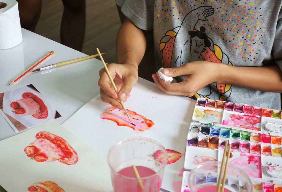 Watercolor painting class Watercolour Painting Tutorial Tutoring Sweet Dessert Pudding Cake Strawberry Art Leisure Hobby FreeTime Indoor Activity Hand Drawn Colorful Colors Paint Handcraft Learning Lesson Bakery Cake Brush
