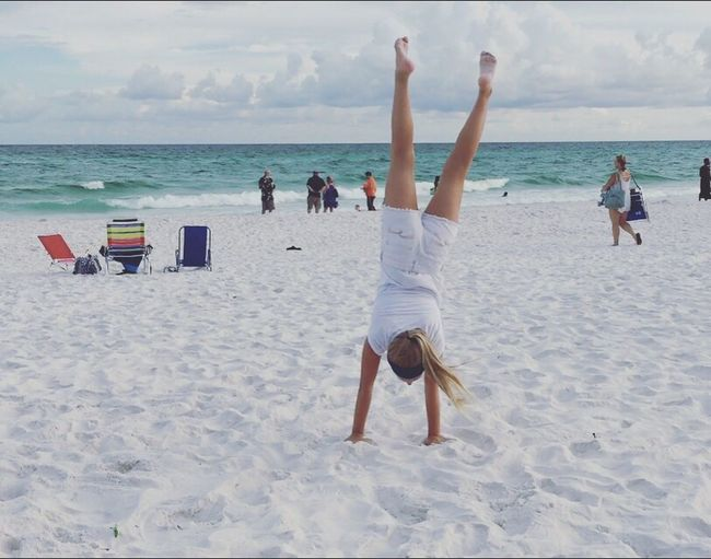 Destin, Florida LJ Beach Sand Sea Horizon Over Water Leisure Activity Water Lifestyles Real People Relaxation Enjoyment Carefree Sky Shore Nature Full Length Beauty In Nature Friendship Vacations Cloud - Sky Scenics
