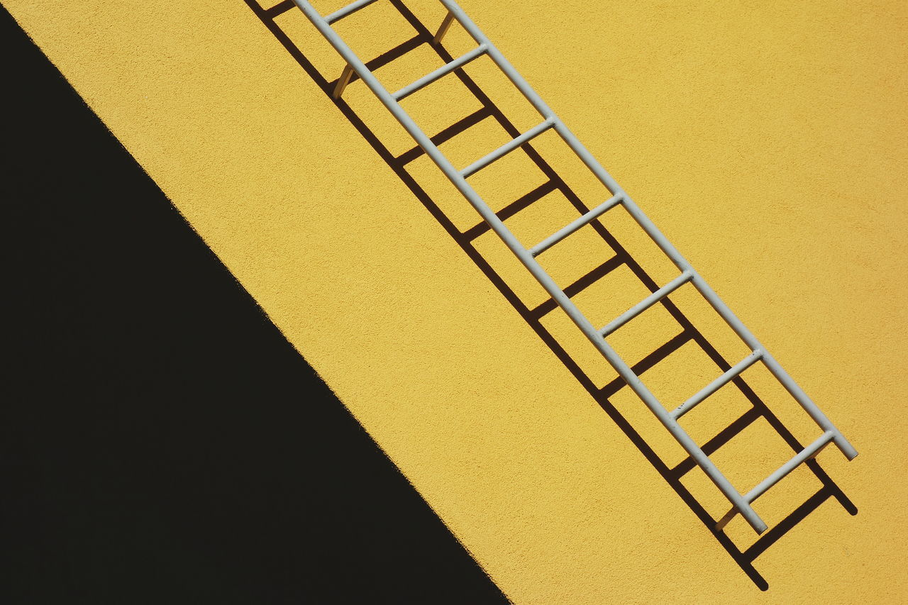 Abstract Built Structure Contrast Diagonal Lines Ladder Minimalism Simplicity Yellow